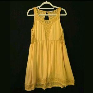 Anthropologie Lilka dress Mustard yellow Lace trim